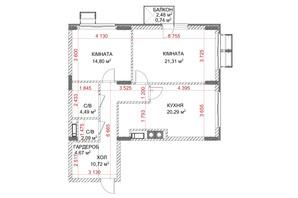 ЖК Riverside: планування 2-кімнатної квартири 78.61 м²