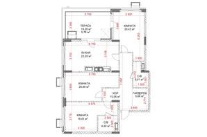 ЖК Riverside: планування 3-кімнатної квартири 102.91 м²