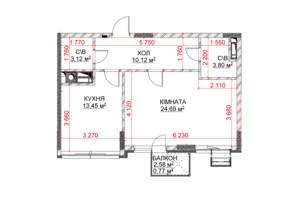 ЖК Riverside: планування 1-кімнатної квартири 55.95 м²