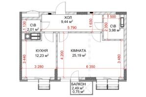 ЖК Riverside: планування 1-кімнатної квартири 41.18 м²