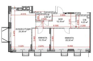ЖК Riverside: планування 2-кімнатної квартири 60.67 м²