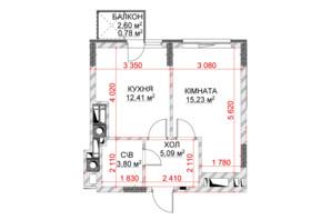 ЖК Riverside: планування 1-кімнатної квартири 37.31 м²
