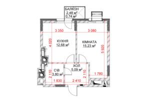 ЖК Riverside: планування 1-кімнатної квартири 37.54 м²