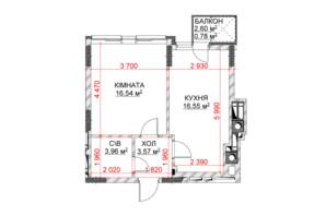 ЖК Riverside: планування 1-кімнатної квартири 41.4 м²