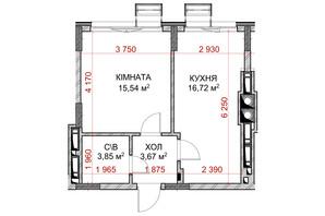 ЖК Riverside: планування 1-кімнатної квартири 35.77 м²