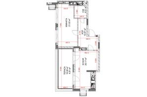 ЖК Riverside: планування 1-кімнатної квартири 53.96 м²