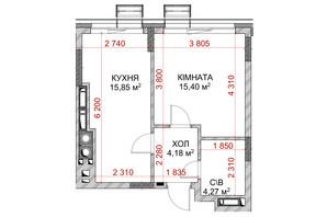 ЖК Riverside: планування 1-кімнатної квартири 35.54 м²