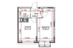 ЖК Riverside: планировка 1-комнатной квартиры 34.3 м²