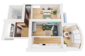 ЖК Рів'єра: планування 2-кімнатної квартири 69.01 м²