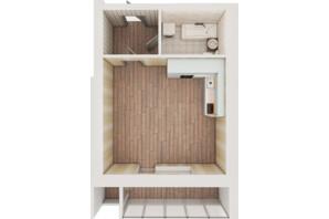 ЖК Рів'єра: планування 1-кімнатної квартири 39.71 м²