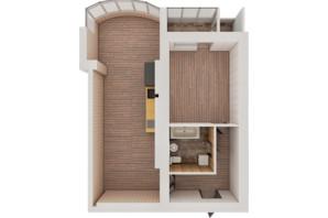 ЖК Рів'єра: планування 1-кімнатної квартири 71.38 м²