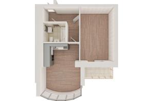 ЖК Рів'єра: планування 1-кімнатної квартири 49.39 м²