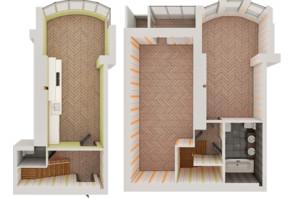 ЖК Рів'єра: планування 2-кімнатної квартири 107.13 м²