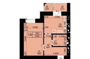 ЖК Родной город: планировка 1-комнатной квартиры 37.82 м²