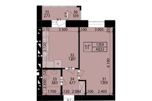 ЖК Родной город: планировка 1-комнатной квартиры 40.32 м²