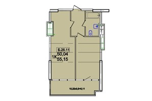 ЖК Родос: планування 1-кімнатної квартири 53.64 м²