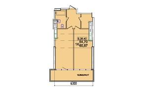 ЖК Родос: планування 1-кімнатної квартири 56.65 м²