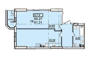 ЖК Родос: планування 1-кімнатної квартири 60.82 м²