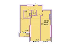 ЖК Родос: планування 2-кімнатної квартири 87.95 м²