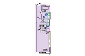 ЖК Родос: планування 1-кімнатної квартири 31.6 м²
