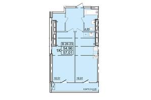 ЖК Родос: планування 1-кімнатної квартири 57.01 м²