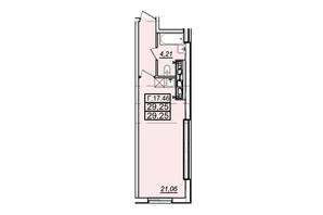 ЖК Родос: планування 1-кімнатної квартири 29.34 м²