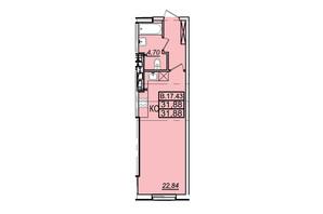 ЖК Родос: планування 1-кімнатної квартири 31.4 м²