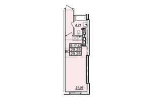 ЖК Родос: планування 1-кімнатної квартири 28.8 м²