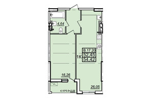 ЖК Родос: планування 1-кімнатної квартири 54.18 м²