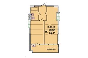 ЖК Родос: планування 1-кімнатної квартири 53.55 м²
