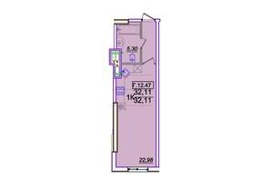 ЖК Родос: планування 1-кімнатної квартири 32.11 м²