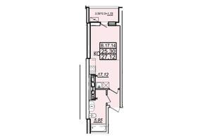ЖК Родос: планування 1-кімнатної квартири 27.12 м²