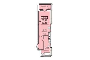 ЖК Родос: планування 1-кімнатної квартири 32.18 м²