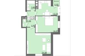 ЖК Родинна Казка: планування 2-кімнатної квартири 65.29 м²