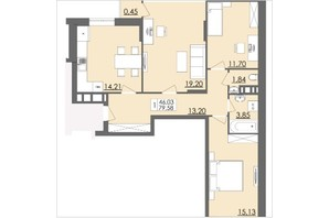 ЖК Родинна Казка: планировка 3-комнатной квартиры 79.58 м²