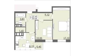ЖК Родинна Казка: планировка 2-комнатной квартиры 50.64 м²