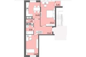 ЖК Родинна Казка: планировка 2-комнатной квартиры 62.52 м²