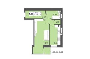 ЖК Родинна казка: планировка 1-комнатной квартиры 41.45 м²