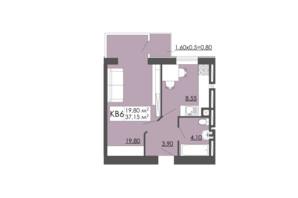 ЖК Родинна казка: планировка 1-комнатной квартиры 37.15 м²