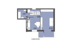 ЖК Родинна казка: планировка 1-комнатной квартиры 41.35 м²