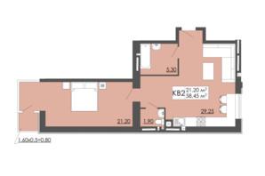 ЖК Родинна казка: планировка 1-комнатной квартиры 58.45 м²