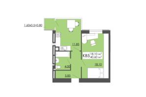 ЖК Родинна казка: планировка 1-комнатной квартиры 40.6 м²