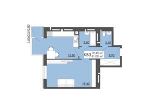 ЖК Родинна казка: планировка 1-комнатной квартиры 51 м²