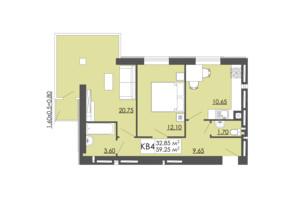 ЖК Родинна казка: планировка 2-комнатной квартиры 59.25 м²