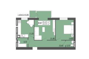 ЖК Родинна казка: планировка 2-комнатной квартиры 65.05 м²