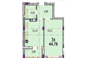 ЖК Родинний Маєток: планировка 1-комнатной квартиры 44.78 м²