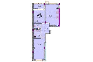 ЖК Родинний Маєток: планировка 2-комнатной квартиры 65.1 м²