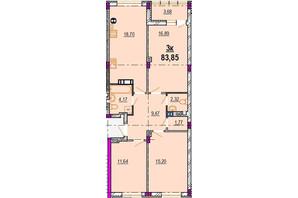 ЖК Родинний Маєток: планировка 3-комнатной квартиры 83.85 м²