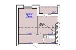 ЖК Рогатинський: планування 1-кімнатної квартири 46.6 м²