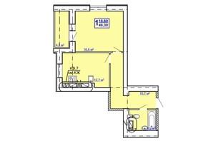 ЖК Рогатинський: планування 1-кімнатної квартири 46.3 м²